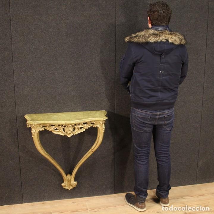 Antigüedades: Pequeña consola francesa lacada y dorada - Foto 3 - 243331645