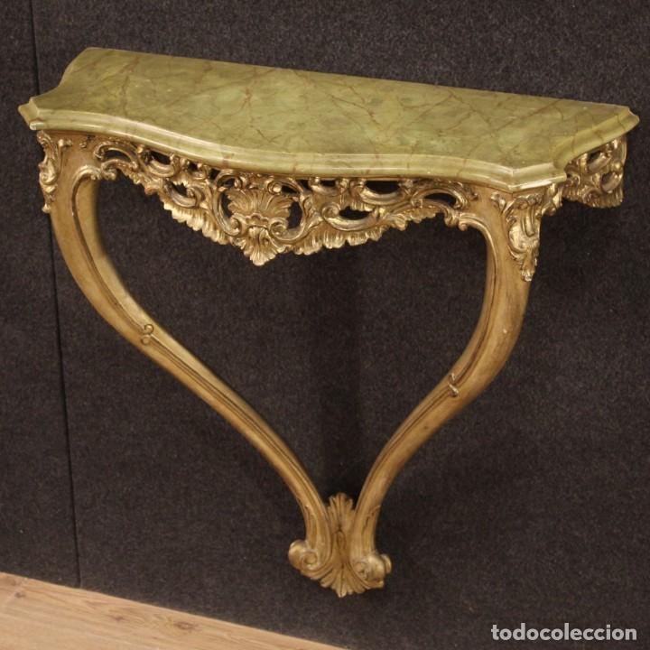 Antigüedades: Pequeña consola francesa lacada y dorada - Foto 5 - 243331645