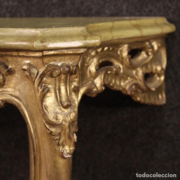 Antigüedades: Pequeña consola francesa lacada y dorada - Foto 7 - 243331645