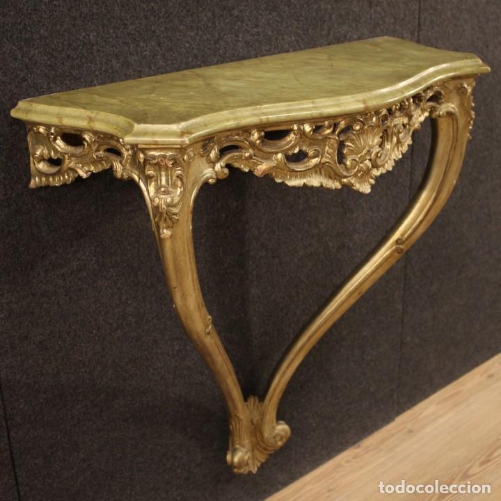 Antigüedades: Pequeña consola francesa lacada y dorada - Foto 10 - 243331645