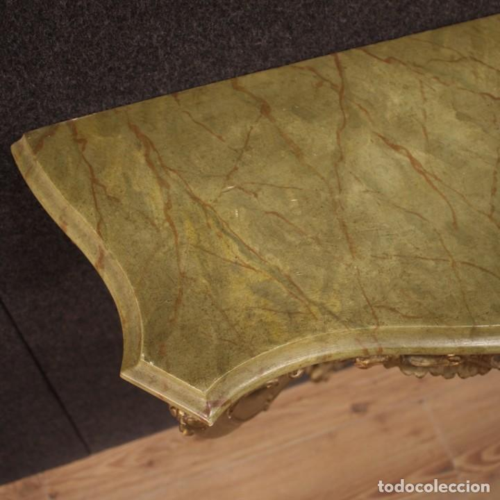 Antigüedades: Pequeña consola francesa lacada y dorada - Foto 11 - 243331645