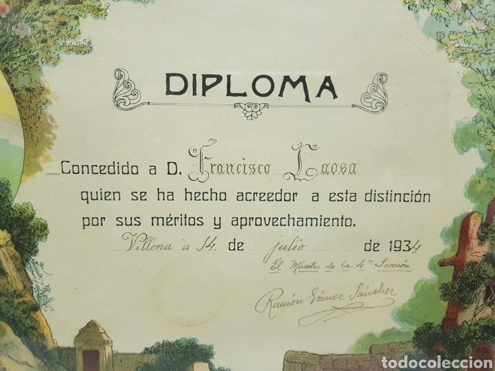 Antigüedades: Marco con Diploma por Meritos ,Modernista ,Villena año 1934 - Foto 2 - 243411105