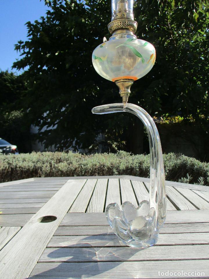 ANTIGUA RARA LÁMPARA QUINQUÉ PETROLEO ART NOVEAU EN CRISTAL SOPLADO MANO MONOBLOQUE DE BACCARAT (Antigüedades - Cristal y Vidrio - Baccarat )