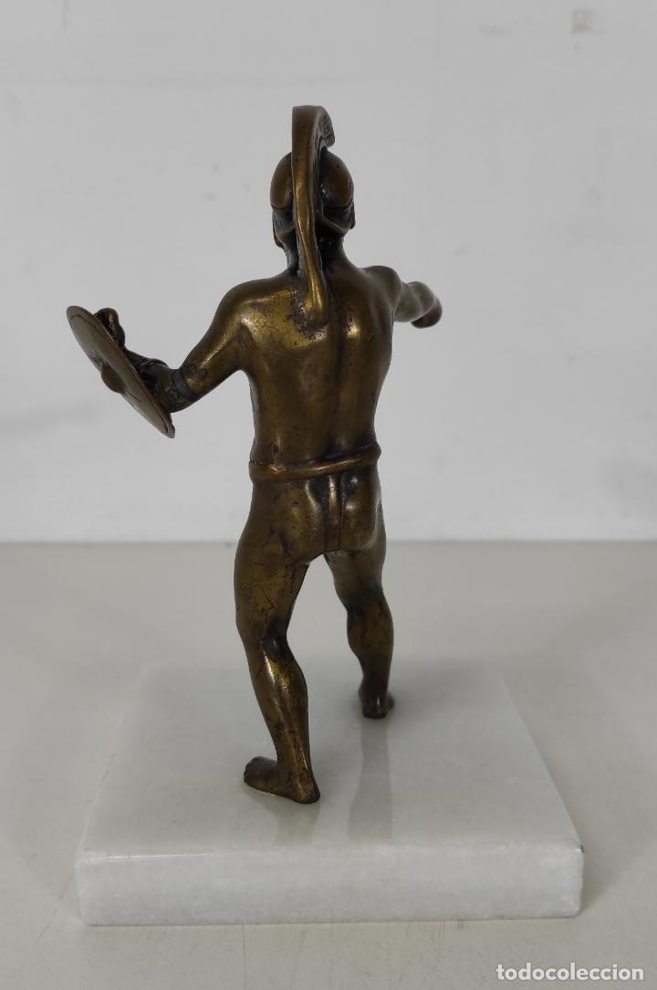 Antigüedades: Escultura - Soldado Espartano con Escudo - Figura en Bronce - Peana de Mármol - Foto 6 - 243524060