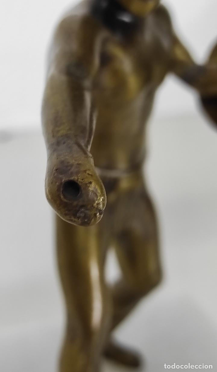 Antigüedades: Escultura - Soldado Espartano con Escudo - Figura en Bronce - Peana de Mármol - Foto 9 - 243524060