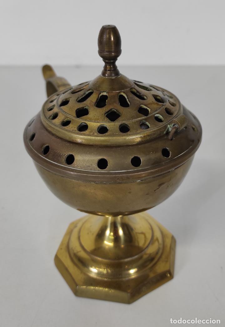 Antigüedades: Incensario de Mano - Quemador en Bronce - Principios S. XX - Foto 4 - 243539430