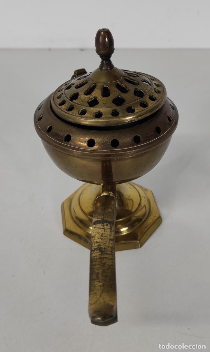 Antigüedades: Incensario de Mano - Quemador en Bronce - Principios S. XX - Foto 5 - 243539430