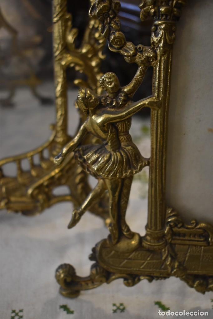 Antigüedades: LOTE DE 3 PORTAFOTOS DE BRONCE - Foto 7 - 243554745