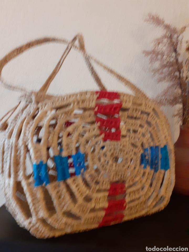 Antigüedades: BOLSO de RAFIA verano PISCINA - Foto 2 - 243587955