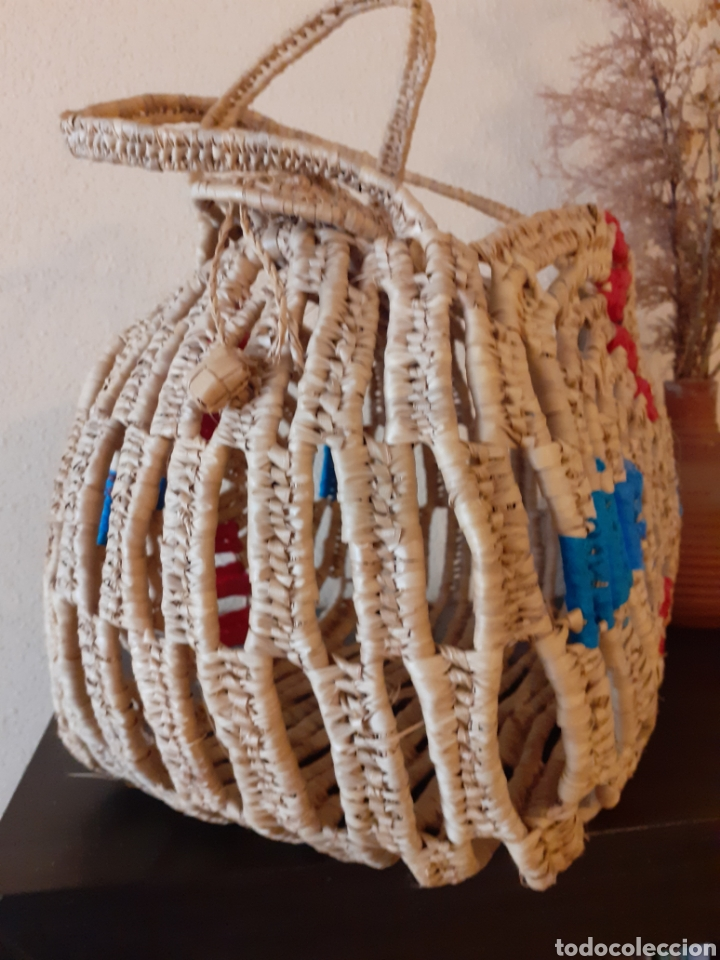 Antigüedades: BOLSO de RAFIA verano PISCINA - Foto 4 - 243587955