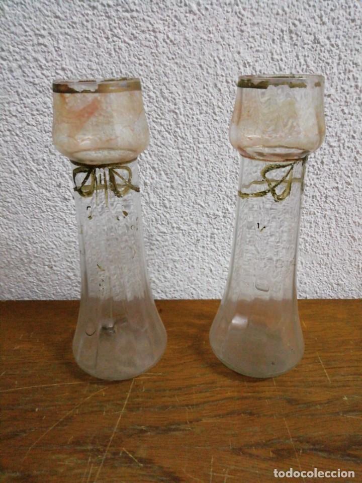 PAREJA DE JARRONES DE VIDRIO CATALÁN SOPLADO (Antigüedades - Cristal y Vidrio - Catalán)