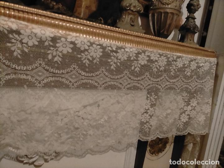 Antigüedades: ANTIGUO PAÑO DE ALTAR RETABLO ENCAJE PUNTO DE RED 400 X 49 CM IDEAL SEMANA SANTA VIRGEN LEER - Foto 8 - 243661535