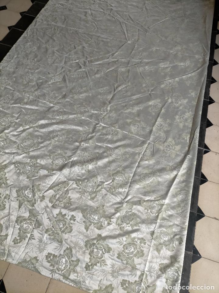 Antigüedades: 325X143 CM GRAN TELA BROCADO VERDE NILO CLARITO FLORAL VIRGEN SAYA MANTO FALDA FALLERA TRAJE REGIONA - Foto 21 - 243809040