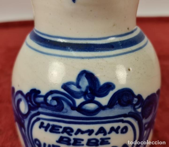 Antigüedades: JARRA DE VINO. CERÁMICA ESMALTADA. PINTADA A MANO. EL CARMEN. TALAVERA. SIGLO XX - Foto 3 - 243814340