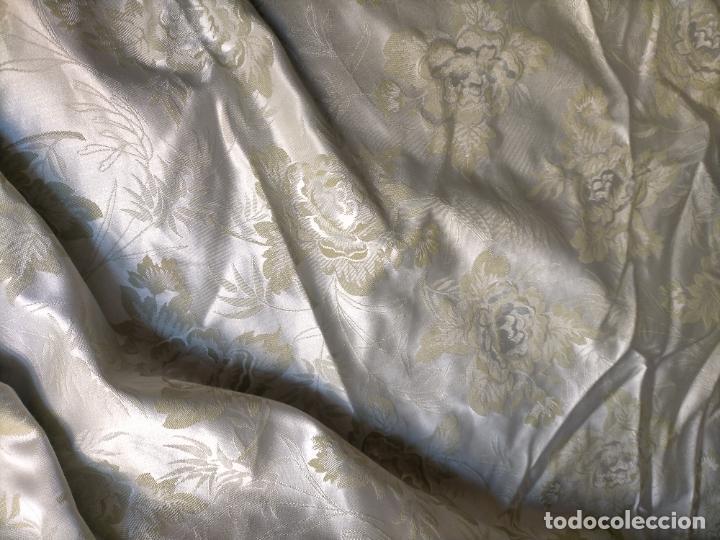 Antigüedades: 325X143 CM GRAN TELA BROCADO VERDE NILO CLARITO FLORAL VIRGEN SAYA MANTO FALDA FALLERA TRAJE REGIONA - Foto 15 - 243816795