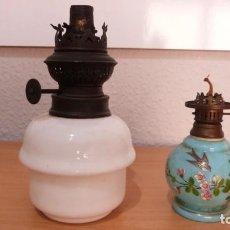 Antigüedades: DOS ANTIGUOS CUERPOS OPALINA LAMPARA QUINQUE. 16 Y 9 CMS.. Lote 243829495