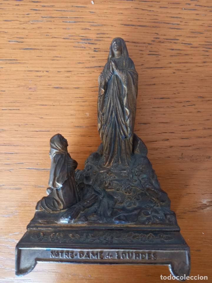 VIRGEN LOURDES DE METAL15 CM FINAL SIGLO XIX (Antigüedades - Religiosas - Orfebrería Antigua)