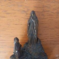 Antigüedades: VIRGEN LOURDES DE METAL15 CM FINAL SIGLO XIX. Lote 243830790