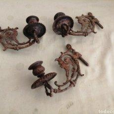 Antigüedades: 3 APLIQUES DE BRONCE PORTAVELAS. Lote 243845940