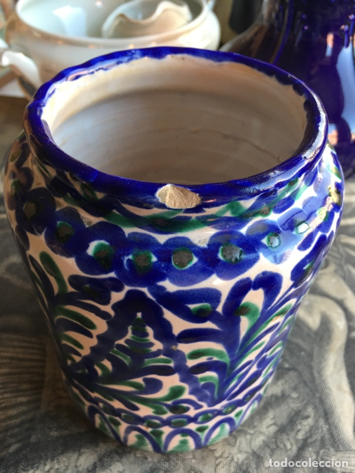 Antigüedades: Tarro de cocina orza ánfora en cerámica con sello Árabe San Isidro - Fajalauza Granada - 18x13 cm - Foto 3 - 243847080