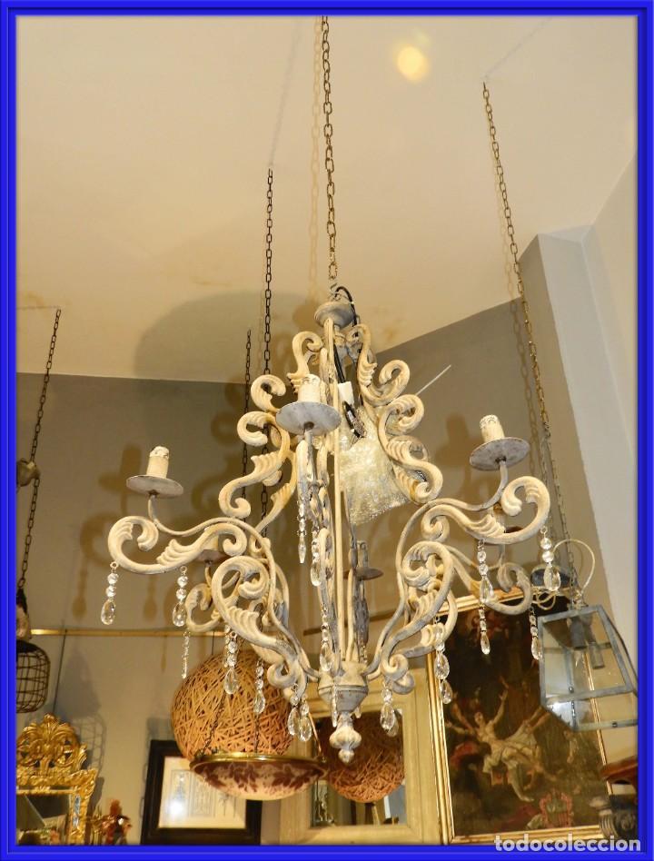 LAMPARA DE SEIS BRAZOS DE METAL MUY DECORATIVA (Antigüedades - Iluminación - Lámparas Antiguas)