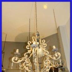 Antigüedades: LAMPARA DE SEIS BRAZOS DE METAL MUY DECORATIVA. Lote 243853180