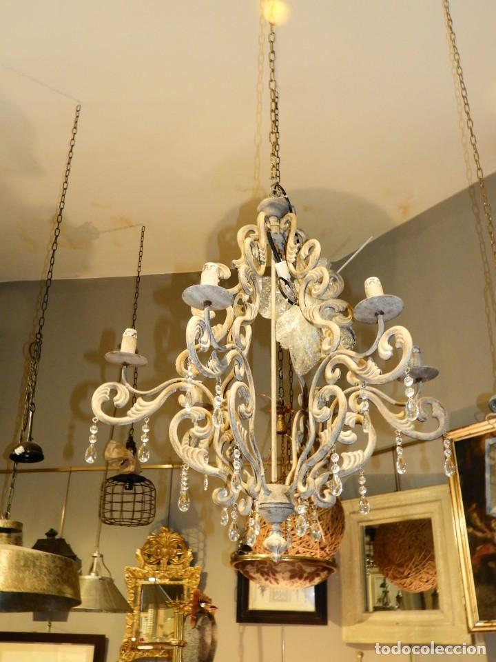Antigüedades: LAMPARA DE SEIS BRAZOS DE METAL MUY DECORATIVA - Foto 2 - 243853180