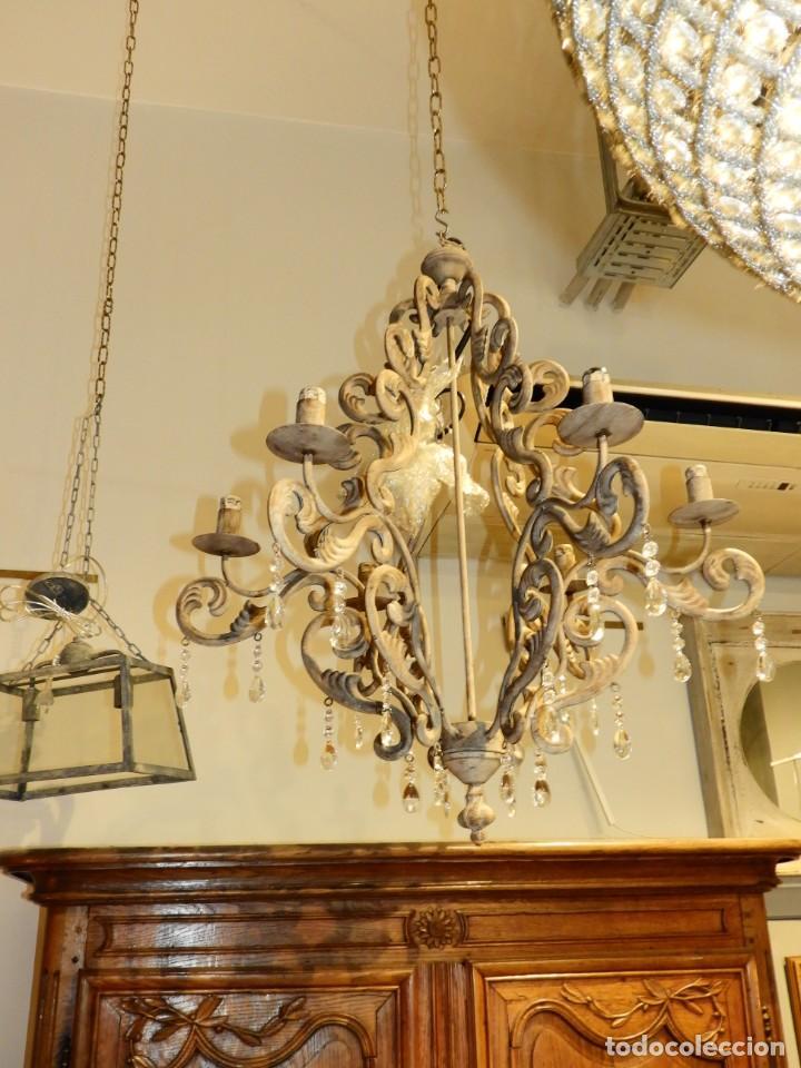 Antigüedades: LAMPARA DE SEIS BRAZOS DE METAL MUY DECORATIVA - Foto 3 - 243853180
