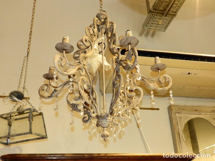 Antigüedades: LAMPARA DE SEIS BRAZOS DE METAL MUY DECORATIVA - Foto 4 - 243853180