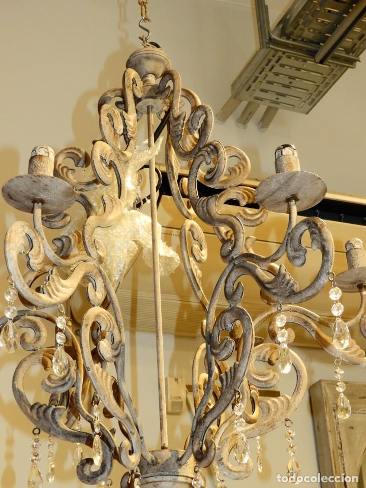 Antigüedades: LAMPARA DE SEIS BRAZOS DE METAL MUY DECORATIVA - Foto 5 - 243853180