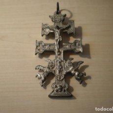 Antigüedades: CRUZ DE CARAVACA GRANDE DE METAL. Lote 243861570