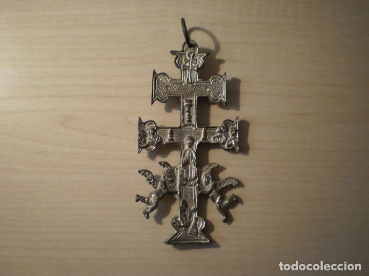 Antigüedades: Cruz de Caravaca grande de metal - Foto 2 - 243861570