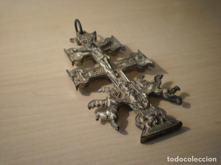 Antigüedades: Cruz de Caravaca grande de metal - Foto 3 - 243861570