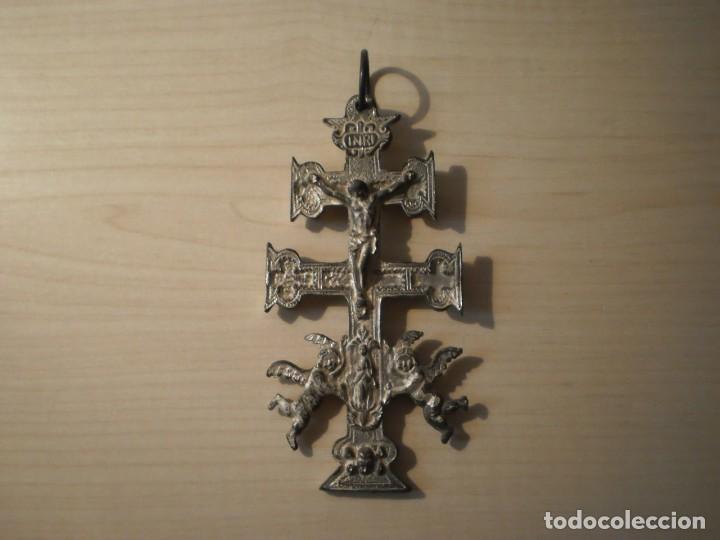 Antigüedades: Cruz de Caravaca grande de metal - Foto 10 - 243861570