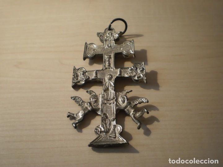 Antigüedades: Cruz de Caravaca grande de metal - Foto 12 - 243861570