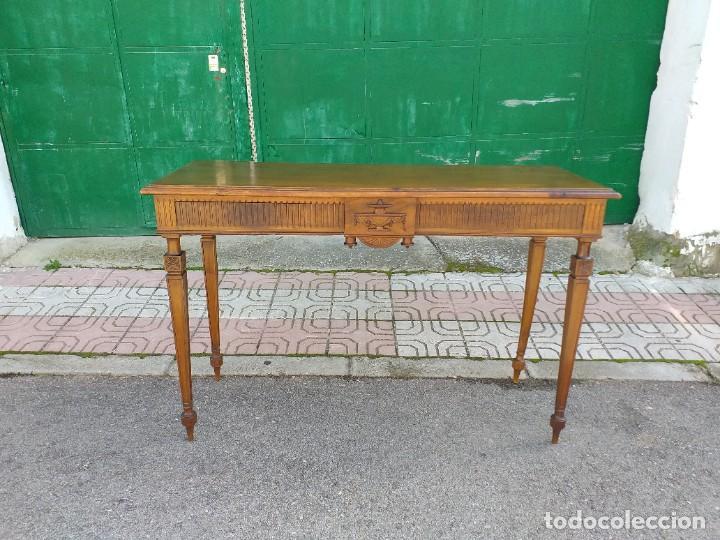 Antigüedades: Consola antigua estilo Luis XVI. Mesa auxiliar vintage estilo imperio modernista. - Foto 3 - 243883670