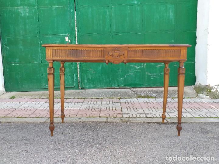 Antigüedades: Consola antigua estilo Luis XVI. Mesa auxiliar vintage estilo imperio modernista. - Foto 5 - 243883670