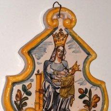 Antigüedades: ANTIGUA BENDITERA DE CERÁMICA ESMALTADA. MARE DE DEU DEL CLAUSTRE. Lote 243908480