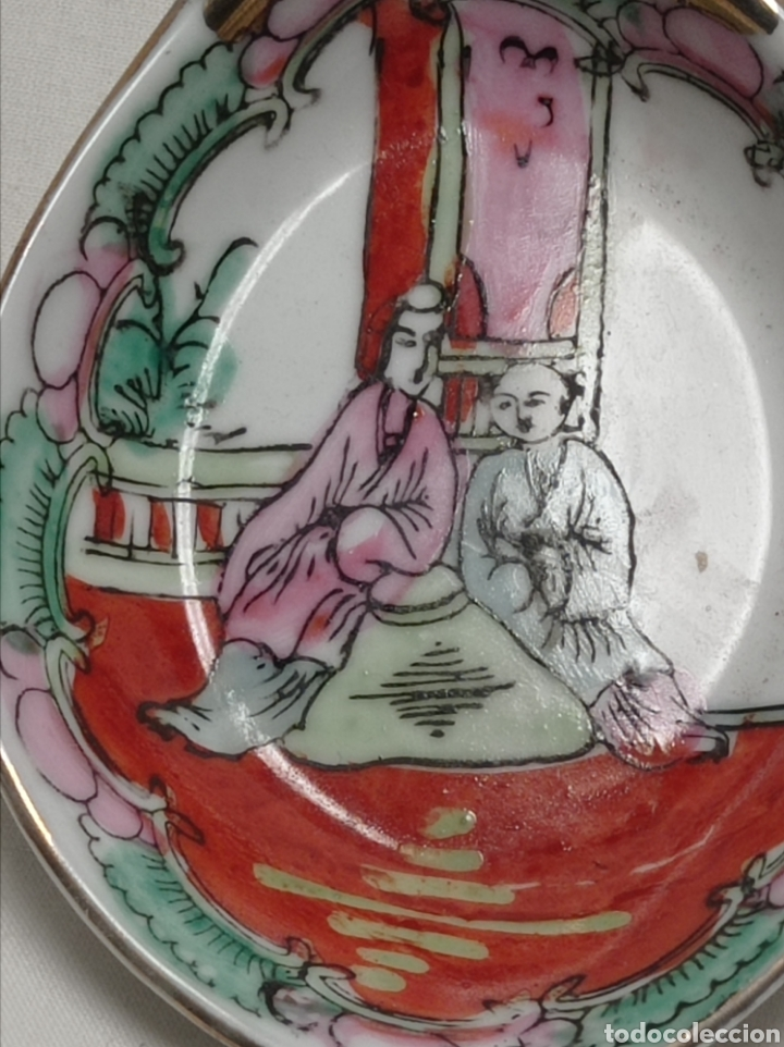 Antigüedades: Cucharón de porcelana china pintada a mano sellada - Foto 6 - 243932525