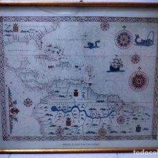 Antigüedades: LÁMINA ENMARCADA DE AMÉRICA CENTRAL Y EL CARIBE. MARCO MADERA Y PASTA DORADO VIEJO. 53 X 42 CM.. Lote 244002520
