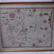 Antigüedades: LÁMINA ENMARCADA DE EXTREMO ORIENTE. MARCO MADERA Y PASTA DORADO-COBRIZO VIEJO. 53 X 42 CM.. Lote 244004880