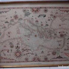 Antigüedades: LÁMINA ENMARCADA MAR MEDITERRÁNEO. MARCO MADERA Y PASTA DORADO-COBRIZO VIEJO. 53 X 42 CM.. Lote 244005865
