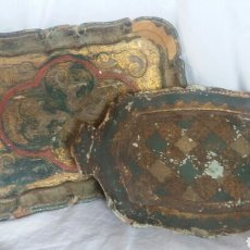 Antigüedades: LOTE DE 2 BANDEJAS DE MADERA ITALIANAS AÑOS 70. Lote 244019645
