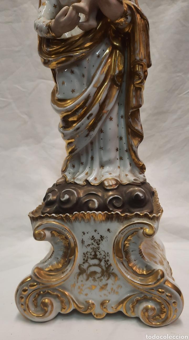 Antigüedades: Antigua figura de Virgen ceramica viejo París - Foto 3 - 244088200