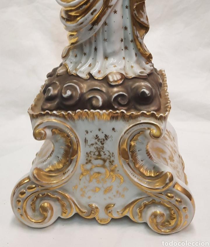 Antigüedades: Antigua figura de Virgen ceramica viejo París - Foto 6 - 244088200