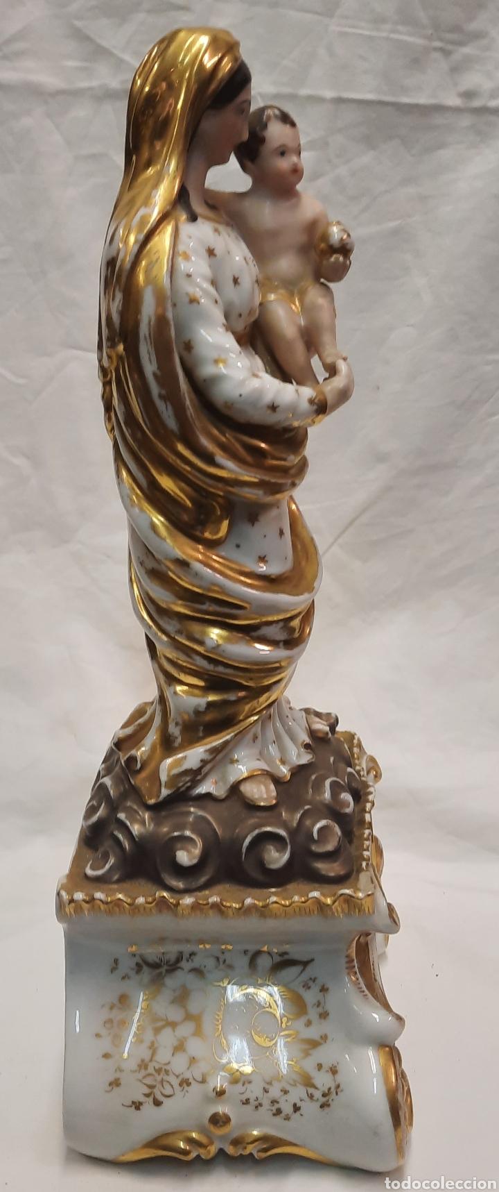 Antigüedades: Antigua figura de Virgen ceramica viejo París - Foto 7 - 244088200