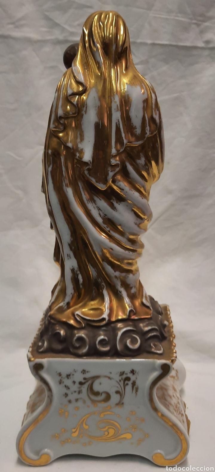 Antigüedades: Antigua figura de Virgen ceramica viejo París - Foto 8 - 244088200