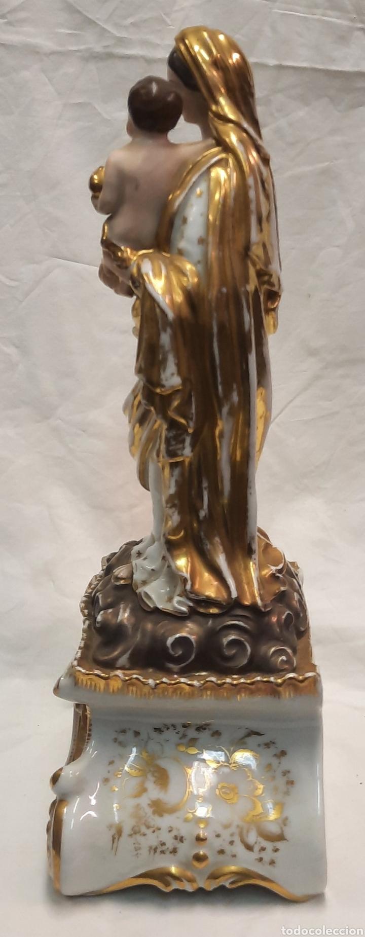 Antigüedades: Antigua figura de Virgen ceramica viejo París - Foto 9 - 244088200