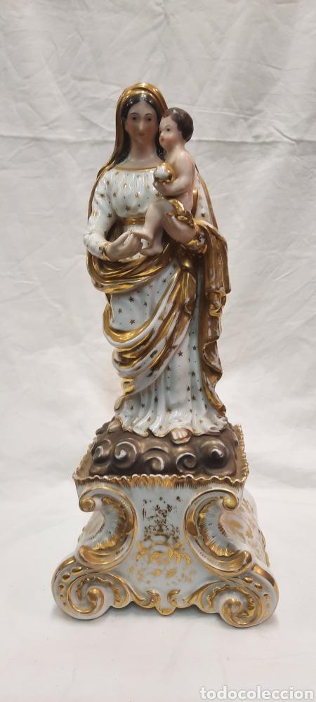 ANTIGUA FIGURA DE VIRGEN CERAMICA VIEJO PARÍS (Antigüedades - Porcelana y Cerámica - Francesa - Limoges)