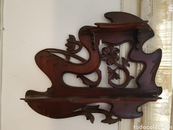 """Antigüedades: Estánteria """"Art Decó"""" tallada en madera. - Foto 3 - 244187655"""